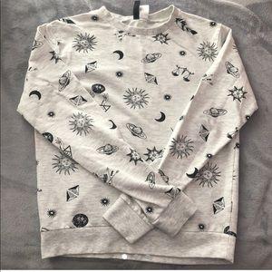 Women's grey H&M sun and moon sweatshirt